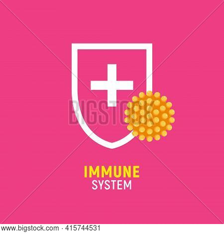 Immune Bacteria System Sign. Antibacterial Virus Sign. Immune Protection Antiseptic, Anti Desease Im