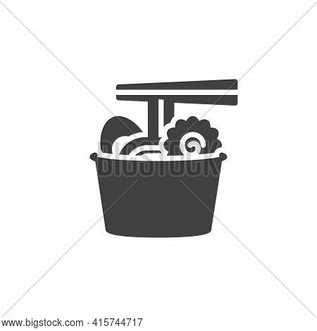 Ramen Noodles Vector Icon. Filled Flat Sign For Mobile Concept And Web Design. Take Away Ramen Bowl