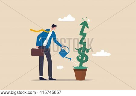 Investment Growth Or Business Grow Up, Make Profit In Stock Market Or Earning Growth Concept, Succes