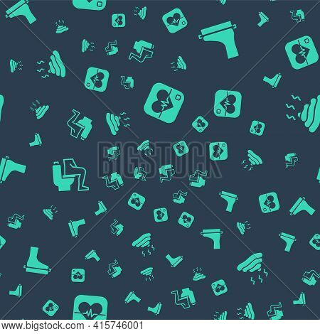 Set Heart Rate, Flat Foot, Constipation And Shit On Seamless Pattern. Vector