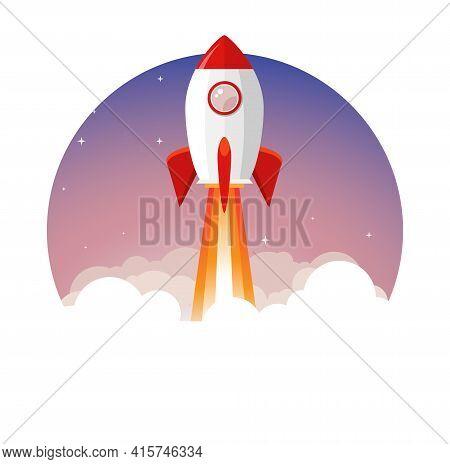 Rocket Launch Vector Ship Begin Challenge Startup. Start Project Rocket Launch Flat Concept