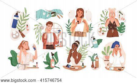 Set Of Women Applying Cleansing And Moisturizing Face Skincare Products At Home. Everyday Skin Care