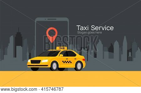 Taxi Service Vector Cab App Design Flyer. Taxi Mobile Illustration Car Concept Banner