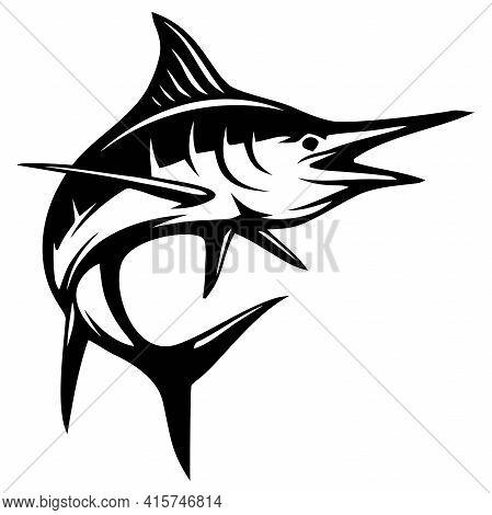 Blue Marlin Fish - Fishing Logo. Template Club Emblem. Fishing Theme Vector Illustration.