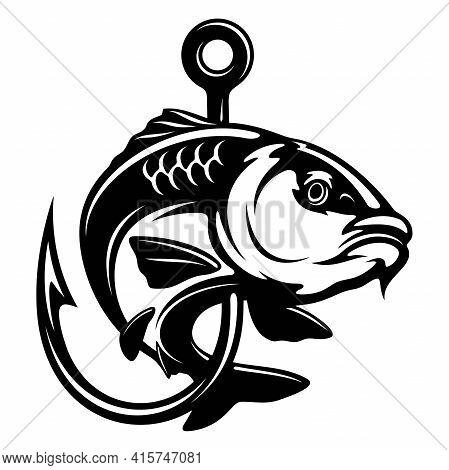 Carp Fish And Fishing Hook - Fishing Logo. Template Club Emblem. Fishing Theme Vector Illustration.