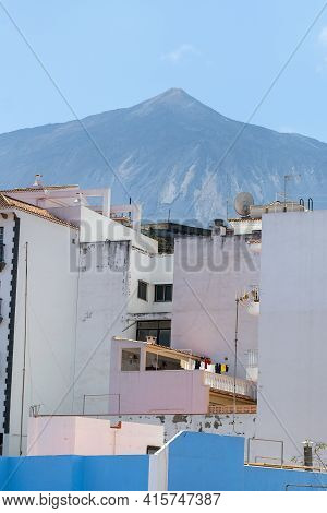 Beautiful View With Old House In Santiago Del Teide Small Town In The Western Part Of The Island Ten