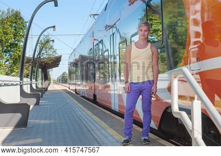 Man On The Background Of The Train