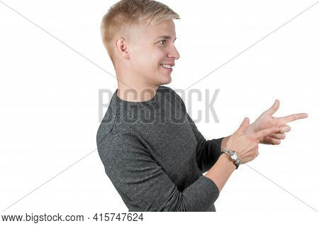 Man In Gray Pointing With His Fingers