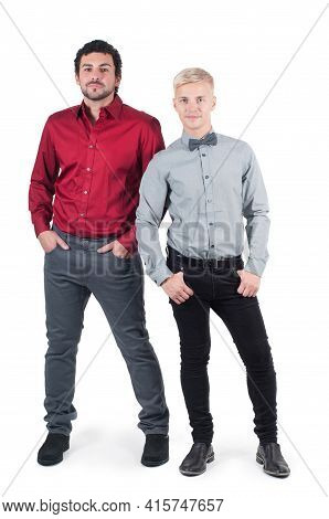 Two Young Men In Shirts Isolated On White