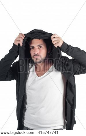 Young Man Dressing Hoodie Isolated On White