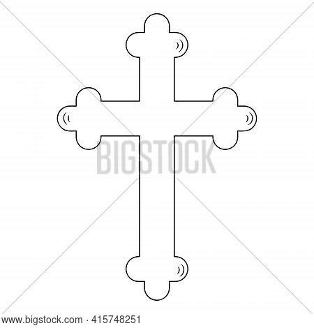 Easter Cross. Sketch. Prayer Accessory. Vector Illustration. Coloring Book For Children. Outline On