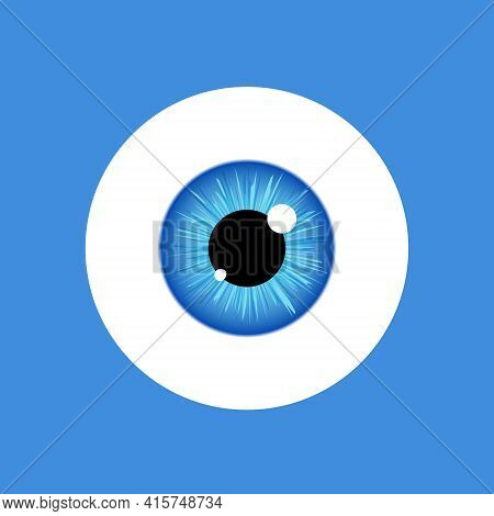 Eye Vector Look Icon. Eyeball Vision Blue Eyesight View Symbol Ball Isolated Icon Illustration