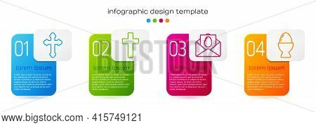 Set Line Christian Cross, Christian Cross, Greeting Card With Happy Easter And Easter Egg On A Stand