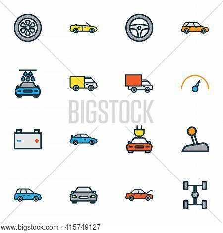 Car Icons Colored Line Set With Gear, Tesla, Crossover And Other Van Elements. Isolated Vector Illus
