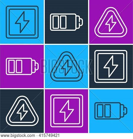 Set Line Lightning Bolt, High Voltage And Battery Charge Level Indicator Icon. Vector