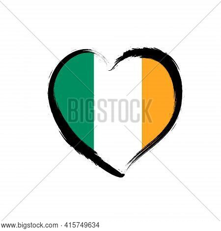 Ireland Flag Clover Irish Eurovision. Dublin Ireland Love Heart Shape Vector