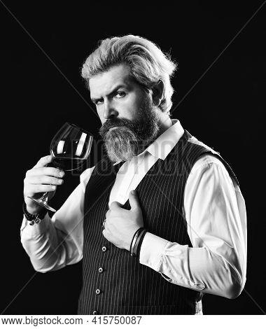 Wine Training School. Working In Cellar. Bar Or Winery. Wine Degustation. Bearded Businessman In Sui