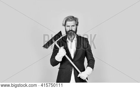 Cleaning Day. Cleaning Business. Household Duties. Cleaning Service Concept. Clear Reputation. Beard