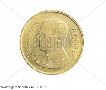 Thailand Twenty Five Baht Coin On White Isolated Background