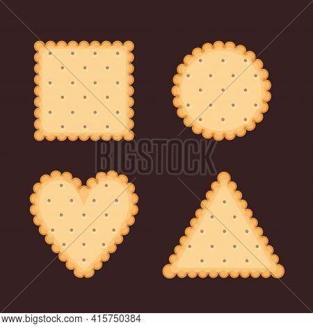 Biscuit Cookie Vector Cartoon Illustration. Vector Biscuit Cookie Top View