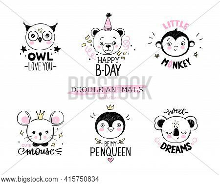 Doodle Animals Vector Set. Owl, Bear, Monkey, Mouse, Penguin, Koala Faces In Sketch Style. Funny Quo