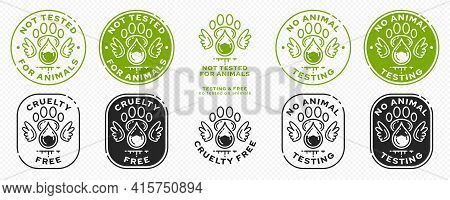 Concept For Product Packaging Or Menu. Labeling - Not Tested On Animals. Animal Footprint Icon With