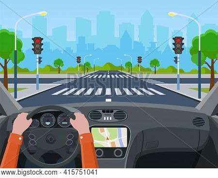 City Crossroad. Hands Driving A Car On The Street. City Road On Crosswalk With Traffic Lights. Marki