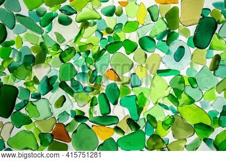 Summer Background From Sea Glass Top View. Broken Glass From The Ocean. Sea Pattern. Oceanic Mosaic.
