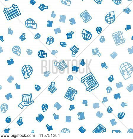 Set Line Delivery Hand With Boxes, Calendar And Worldwide Shipping On Seamless Pattern. Vector