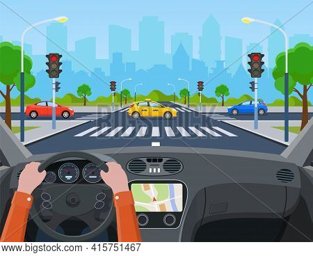 City Crossroad With Cars. Hands Driving A Car On The Street. City Road On Crosswalk With Traffic Lig
