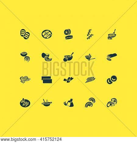 Traditional Meal Icons Set With Penne Pasta, Gnochi Pasta, Pipe Rigatte Pasta And Other Riccoli Elem
