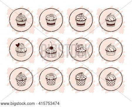 Icon, Label, Emblem, Badge, Logo With Cupcakes And Muffins Isolated On A White Background. Sweet And