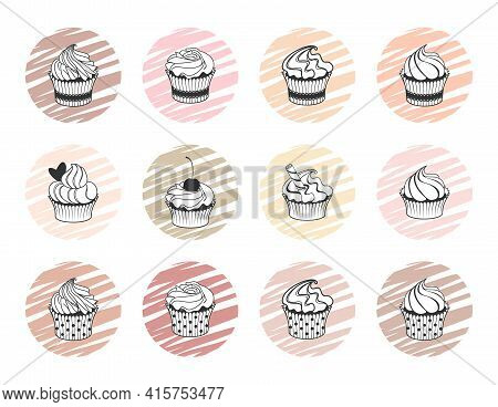 Icon, Label, Emblem, Logo, Badge With Muffins And Cupcakes Isolated On A White Background. Sweet And