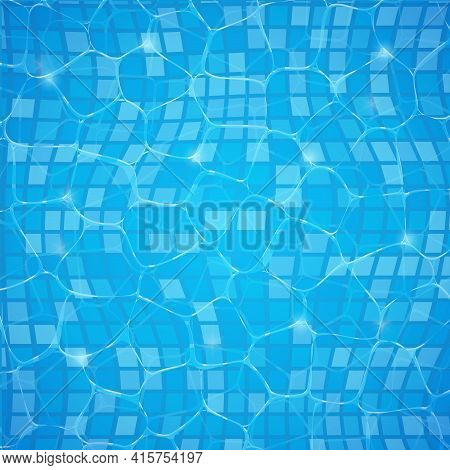Pool Water Swim Background Summer Poster Texture. Pool Reflect Water Vector Ripple Aquatic Design