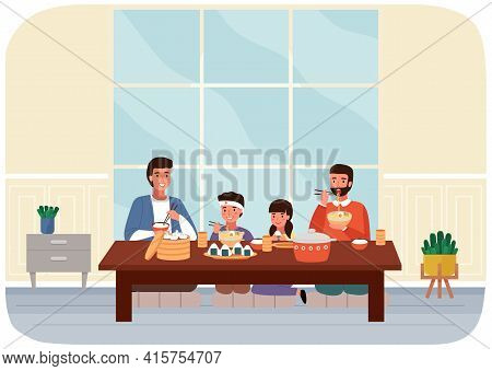 Family Eating In Dining Room In Oriental Style Vector Illustration. Dining Table With Noodles, Manti