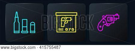 Set Line Bullet, Small Gun Revolver And Military Ammunition Box. Black Square Button. Vector