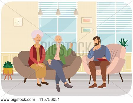 Psychiatrist Consultation. Worried Elderly Pensioner Couple Man And Woman On Psychologist Session