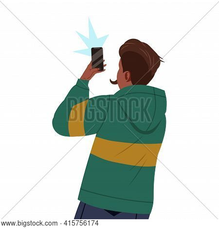 Young Man In Hoody With Smartphone Recording Street Protest Against Human Rights Violation On Video