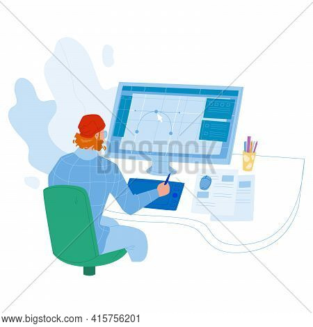 Designer Working On New Project At Computer Vector. Graphic Designer Man Work At Workspace, Drawing