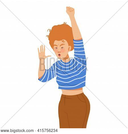 Young Woman Raising Her Hand Up Supporting Street Protest Against Human Rights Violation Vector Illu