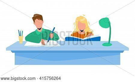 Pupils Doing Homework Together At Table Vector. Boy And Girl Doing Homework At Desk. Characters Read