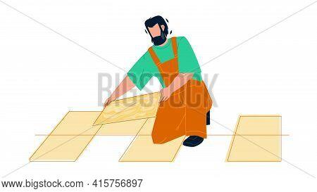 Tiler Man Installing Ceramic Floor Tiles Vector. Tiler Repairman Contractor Tilling Renovation Work.