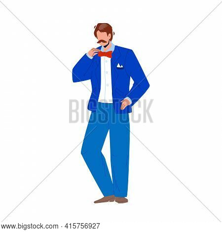 Tuxedo And Butterfly Tie Wearing Young Man Vector. Whiskered Businessman Wearing Elegant Tuxedo Cost