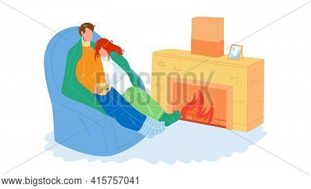 Winter Rest Couple Together Near Fireplace Vector. Young Man And Woman Wrapped In Plaid Relaxing On