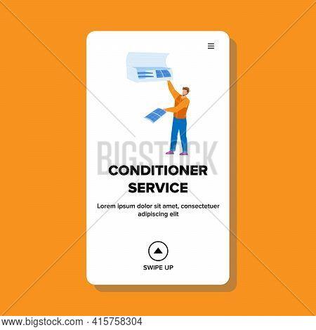 Conditioner Service Worker Repair Equipment Vector. Conditioner Service Repairman Fix And Clean Elec