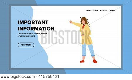 Important Information Pointing Young Woman Vector. Girl Talking And Showing With Finger On Important