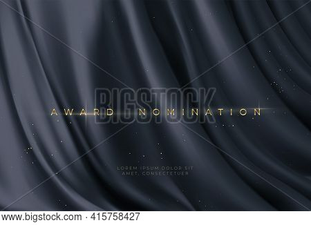 Awarding The Nomination Ceremony Luxury Black Wavy Background With Golden Glitter Sparkles. Vector B