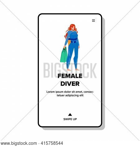 Female Diver Holding Flippers Accessory Vector. Female Diver Wearing Professional Diving Costume For