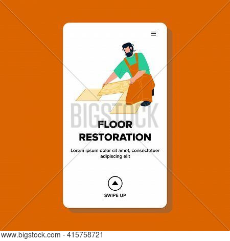 Floor Restoration And Repair Making Worker Vector. Tiler Floor Restoration And Renovation, Laying Ce