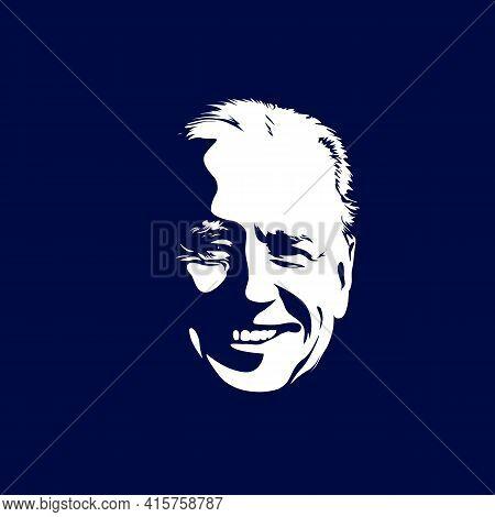 A Vector Illustration Portrait Of President Joe Biden On White Background. Flip-flop Style